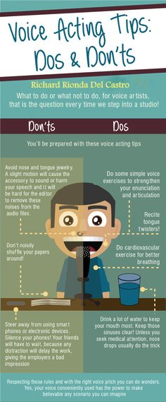 Voice Acting Tips: Dos & Don'ts. To help with your animations. Singing Lessons, Singing Tips, Voice Acting, The Voice, Radio Musica, Teaching Theatre, Drama Class, Acting Tips, Monologues