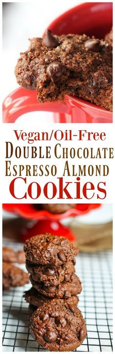 Vegan Double Chocolate Espresso Almond Cookies. My ALL-TIME FAVORITE COOKIES. These are everything I dream of in a cookies...super chocolatey, soft, moist, rich in flavor from the almond flour and robust from the espresso. These are also a favorite with family and friends. via @thevegan8