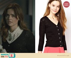 Clara's black bow cardigan on the Doctor Who Christmas Special. Outfit Details: http://wornontv.net/24552 #DoctorWho #fashion