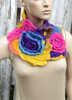 Rainbow crochet scarf Crochet cowl Unique Capelet Neck