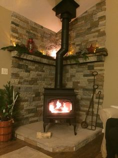 My Lopi Endeavor woodstove. Hearth/mantel/stone by me! My Lopi Endeavor woodstove. Hearth/mantel/stone by me! Stove by the pros Wood, Cozy Fireplace, Corner Fireplace, Stove Decor, Wood Burning Stove Corner, Corner Stove, Fireplace, Pellet Stove, Fireplace Tile