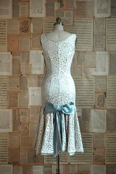 Gorgeous!! Love! Very tempted! - 50s lace dress with blue ribbon detail, Artifact bridal. #wedding