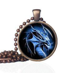 Dragon Head - Majestic Dragon - Blue Dragon - Dragon Pendant - Dragon Jewelry - Mythical Jewelry - Dragon Gift - Dragon - Statement Necklace by KingFamilyCreations