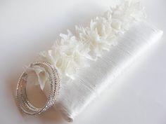 White flower clutch - handmade wedding bags by KeepBags