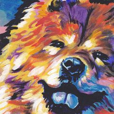 Chow Chow Dog art print from Painting pop art bright colors 8x8 #PopArt