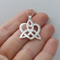 Trinity Knot Heart Necklace - Sterling Silver