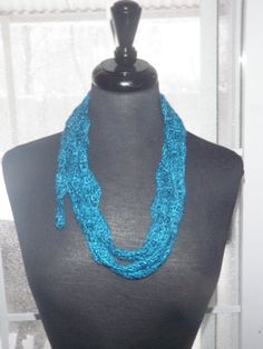 Sapphire blue heart fashion scarf blue necklace by CrochetByMel, $23.99