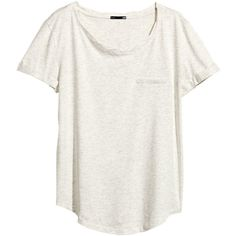 H&M Jersey top ($5.92) ❤ liked on Polyvore featuring tops, t-shirts, shirts, light grey, t shirts, short sleeve tops, jersey knit t shirt, h&m and jersey t shirts