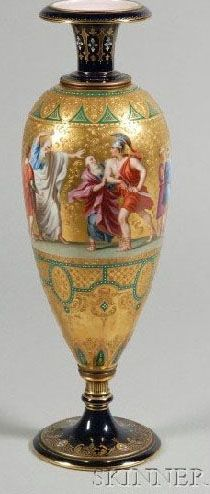"Royal Vienna Porcelain Vase, enamel decorated with scene of Constantin and other figures, on glit ground with raised accents, scene identified in German to underside of foot, cobalt ground with green accents and white ""jewels"" c. 1876-1900"