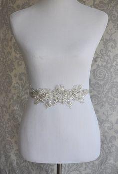 Crystal Sash, Rhinestone Bridal Sash on Floral Lace, Silver Crystal wedding sash, Bridal Belt, Bridal Accessories - 102S
