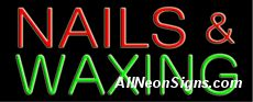 """Nails and Waxing Neon Sign-10470-4708  13"""" Wide x 32"""" Tall x 3"""" Deep  110 volt U.L. 2161 transformers  Cool, Quiet, Energy Efficient  Hardware & chain are included  6' Power cord  For indoor use only  1 Year Warranty/electrical components  1 Year Warranty/standard transformers."""