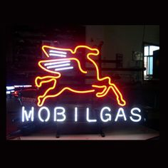 Mobilgas Oil Shop Open Neon Sign///How I love you neon signs , Real nice for my Home Bar Deco
