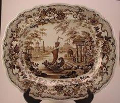 1850 T. Mayer Stoke Brown Transferware Platter