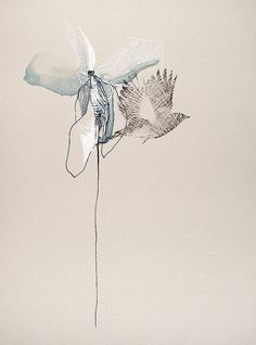 Nebo Peklo | Bird Petal | ink and watercolor on paper /sm