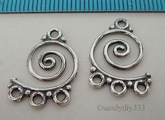2x OXIDIZED STERLING SILVER CHANDELIER CONNECTOR EARRING 12.8mm #2250