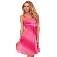 Bridesmaid Tie-dye Empire Waist Ruched Sleeveless Rhinestone Broche Mini Dress