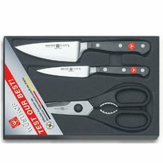 Wusthof Classic 3-Piece Knife Prep Set by Wusthof. $99.95. Full-tang construction; substantial bolsters; ergonomic grip; riveted handles. Forged from premium German steel; blades are hand-honed and laser-tested. Wash by hand for best care; shears come apart for cleaning; made in Germany. 3-piece Wusthof Classic prep set for peeling, paring, trimming, slicing, and garnishing. Includes 3-1/2-inch paring knife, 4-1/2-inch multiprep knife, and kitchen shears. This 3-piec...