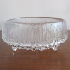 Vintage iittala Finland Ultima Thule Tapio Wirkkala Finnish Art Glass Bowl from SanDiegoVintage etsy. This sits on my coffee table filled with potpourri.