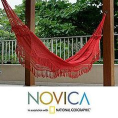 @Overstock - Woven of cotton, each end of this dazzling hammock features rows of macrame. Brazil's Hammock Artisans of Ceara create a masterpiece of style and comfort, bordered with lavish fringed lace, crocheted by hand.http://www.overstock.com/Worldstock-Fair-Trade/Cotton-Red-Rio-Sensation-Hammock-Brazil/6341596/product.html?CID=214117 $120.99