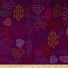 Cotton & Steel Macrame Pattern Guides Grape from @fabricdotcom  Designed by Rashida Coleman-Hale for Cotton + Steel, this cotton print fabric is perfect for quilting, apparel and home decor accents. Colors include purple, orange, pink, blue, green and yellow.