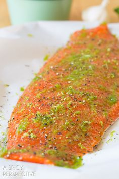Simple Spicy Garlic Lime Oven Baked Salmon #salmon #dinner #recipe