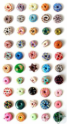 50 uniquely patterned, colorful donuts