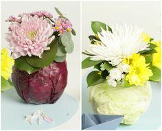 Centros de mesa con hortalizas y flores Cabbage, Vegetables, Food, Diy Decorating, Vegetables Garden, Bud Vases, Centerpieces, Mesas, Creativity