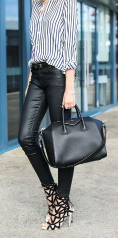 stripes, leather, Givenchy bag and Sophia Webster heels
