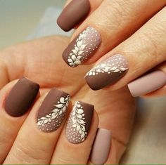 Brown and beige nails, Brown nails, Fall matte nails, Fashion matte nails, Ideas of matte nails, Ideas of winter nails, Manicure in autumn style, Matte nails