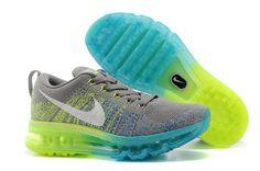 En Ligne Lyon Homme 2014 Nike Flyknit Max Grise Clair Fluorescent Vert (EG1448)