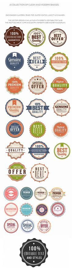 Colourful, clean and stylish editable #badges