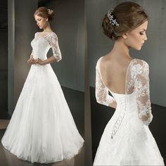 Vestidos De Novia Stock Elegant White/Ivory Half Sleeve A-Line Backless Wedding Dress Lace Appliques Bridal Gown Robe De Mariage
