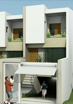 Underground parking House Outer Design, House Front Design, Modern House Design, Architect Design House, House With Balcony, Woodland House, Townhouse Designs, Garage House Plans, Parking Design