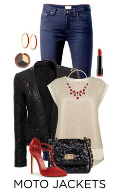 """""""Moto Jacket for Night"""" by chrissykp ❤ liked on Polyvore featuring Tommy Hilfiger, Oasis, Call it SPRING, GUESS, Mineral Fusion, NYX, Monet, NightOut, skinnyjeans and Sequins"""
