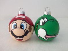 Super Mario Yoshi Hand Painted Ornament Set Nintendo NES on Etsy, $30.00