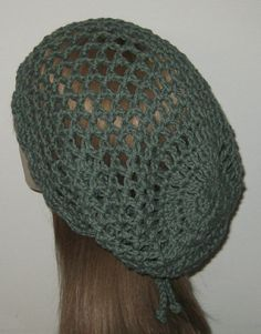 Sage Cotton Open Stitch Dread Snood Tam by DeniseBlack on Etsy