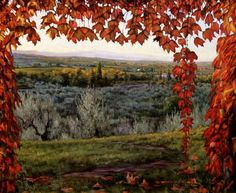 "Oil Painting ""Autumn Colors, Chianti"" Tuscany Landscape, view from Villa Petrolo http://www.carolinezimmermann.com/Paintings-in-Oil/Tuscany.html"
