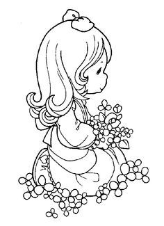 Pretty girl surrounded by flowers - Precious Moments coloring pages.
