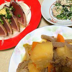 うちの肉じゃがは薄味で甘さも控えめです。 - 16件のもぐもぐ - 肉じゃが、白和え、鰹のたたき by hamama