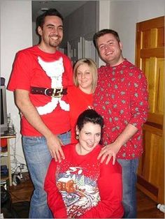 'Here's our 'family photo' before the Ugly Sweater Party,'