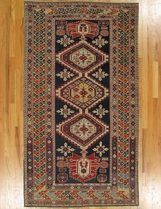 "Karagashli rug,Kuba District,Eastern Caucasus,circa 1870.Dimensions of the piece:7'.2""x4'.0"" (218x122 cm).   Hagop Manoyan, New York"