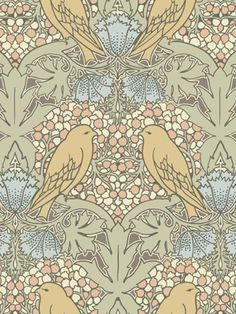 Birds and Berries textile design by CFA Voysey
