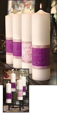 Perhaps use these or larger on the altar as part of an altar scape INSTEAD of the traditional advent wreath? Advent Candles- Using plain white candles, purchase wide ribbon of 3 purple and one pink. Wrap around each candle and pin. Purple Christmas, All Things Christmas, Holiday Fun, Christmas Holidays, Nordic Christmas, Reindeer Christmas, Modern Christmas, Xmas, White Candles