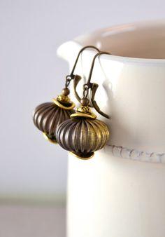Retro Earrings Large Brass Earrings Vintage Beads by Phoebedreams, $28.00