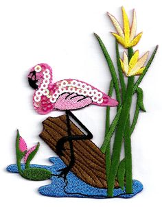 Flamingo In Pond Embroid/Sequin Iron On Applique #Unbranded