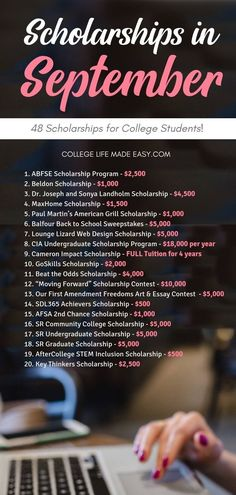 49 September Scholarships in 2019 (Get Ahead & Apply Now) This is a list of hand. - 49 September Scholarships in 2019 (Get Ahead & Apply Now) This is a list of handy September Scholar - Scholarships For College Students, School Scholarship, College Majors, Financial Aid For College, Education College, Physical Education, College Humor, Health Education, College Life Hacks
