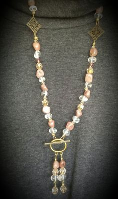 Dark Mauve Rhodonite Stone Rock Crystal  Brass by FlowerFelicity, $65.00