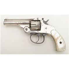 "H & R Arms Co. top break DA revolver, .22RF cal., 3"" barrel, nickel finish, pearl grips, #270834 in"