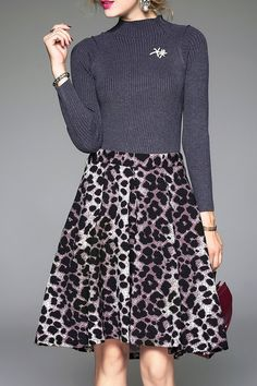 Leopard Panel Knitted Dress
