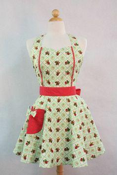 Vintage Style Aprons | Apron Retro Style Sweetheart Neckline Green ... | Kitschy Kitchen Apr ...
